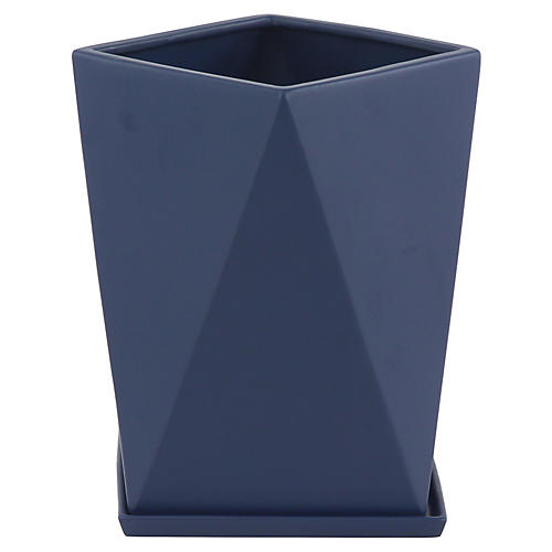 "13"" Millay Outdoor Planter, Navy"