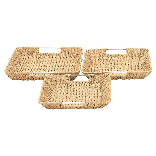 Asst. of 3 Roston Decorative Trays, Natural