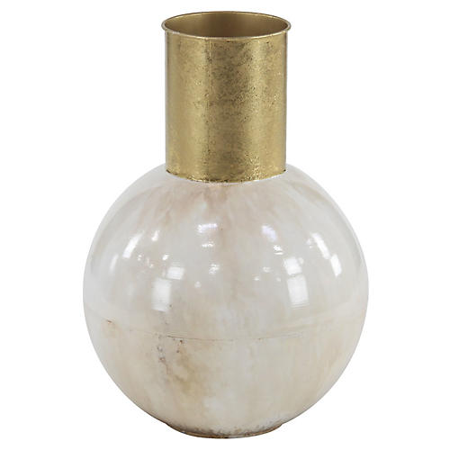 Wincott Vase, White/Gold