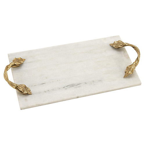 "21"" Vine Rectangular Marble Tray, White/Gold"