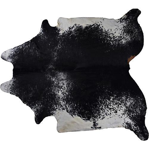 5'x7' Atlantis Hair-On Hide Rug, Black/White