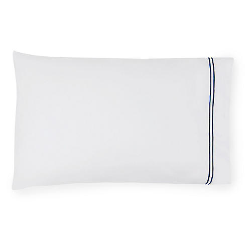 S/2 Grande Hotel Pillowcases, White/Navy
