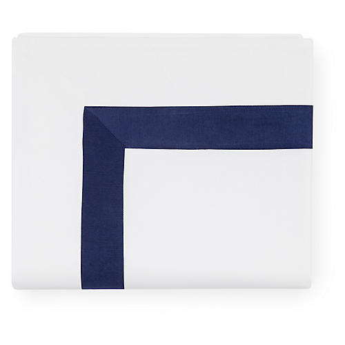 Orlo Flat Sheet, White/Navy