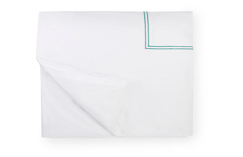 Grande Hotel Duvet Cover, White/Aqua