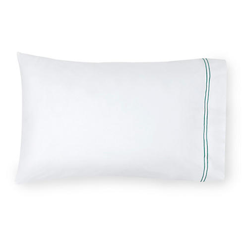 S/2 Grande Hotel Pillowcases, White/Aqua