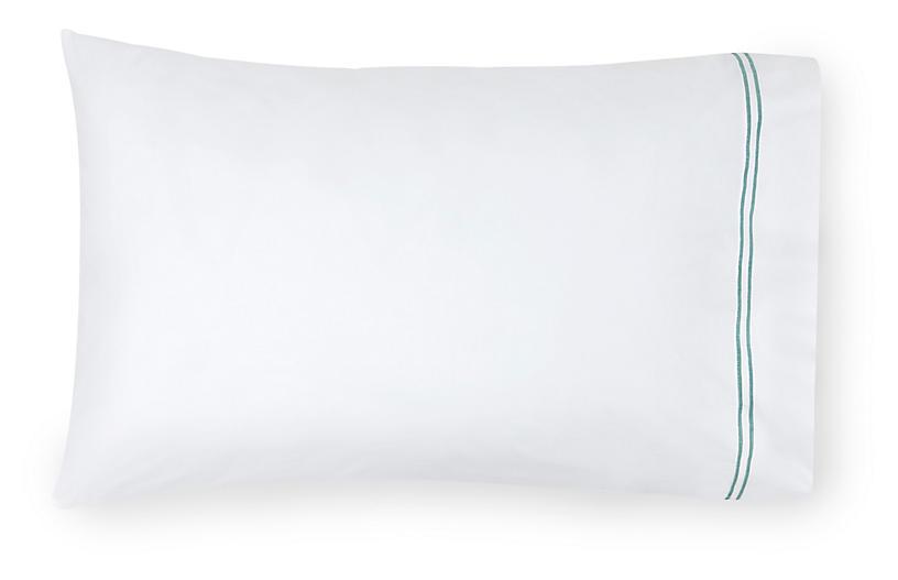 S/2 Grande Hotel Pillowcases, White/Aqua