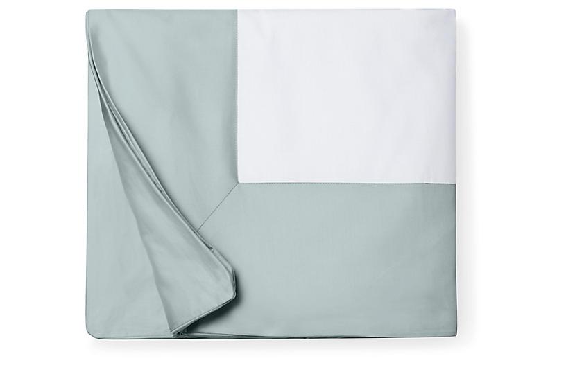 Casida Duvet Cover, White/Seagreen