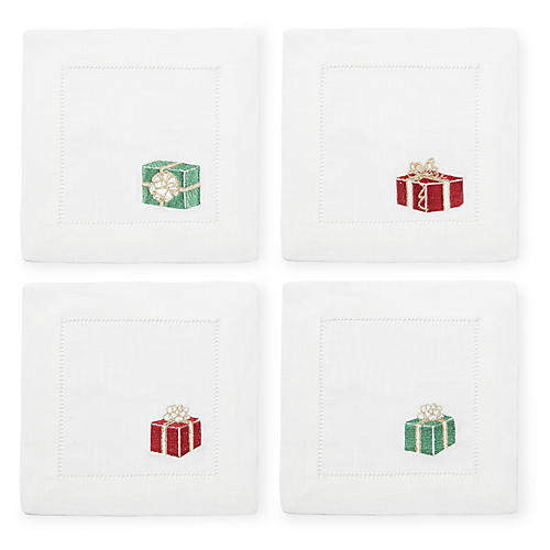 S/4 Gifts Cocktail Napkins, Red/Green