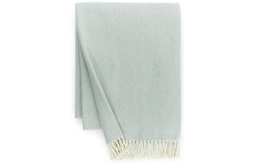 Celine Cotton Throw, Slate Blue