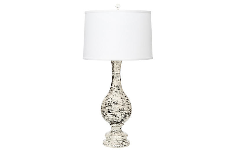 Trousdale table lamp, Black Brushstrokes/Off-White