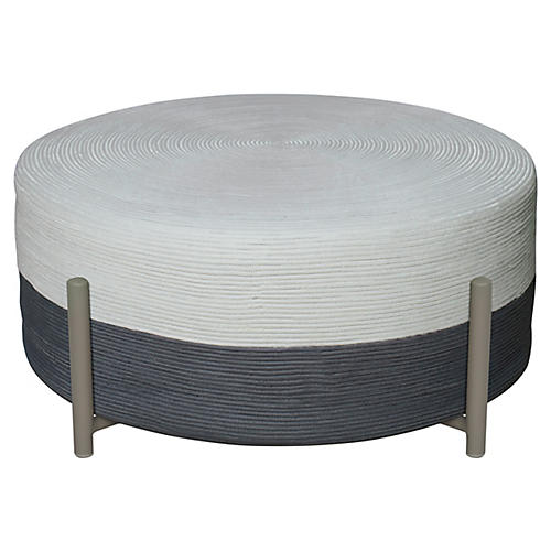 Lily Pad Cocktail Ottoman, Gray