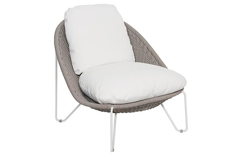 Aegean Lounge Chair, White/Taupe