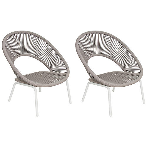 S/2 Ionian Lounge Chairs, White/Taupe