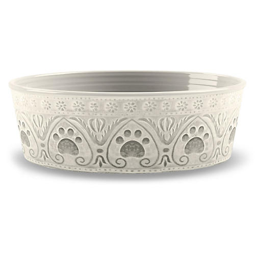Medallion Paw-Print Pet Bowl, Natural