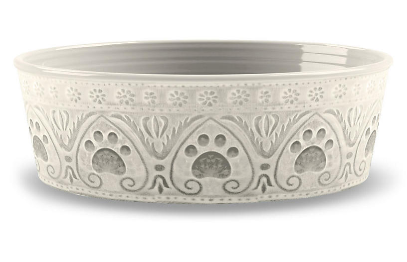 Medallion Paw-Print Pet Bowl, Natural