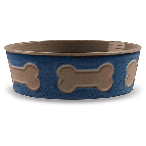 "9"" Bone Emboss Pet Bowl, Indigo/Mocha"