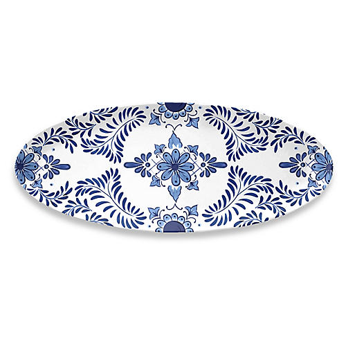 Cypress Oval Platter, Blue/White