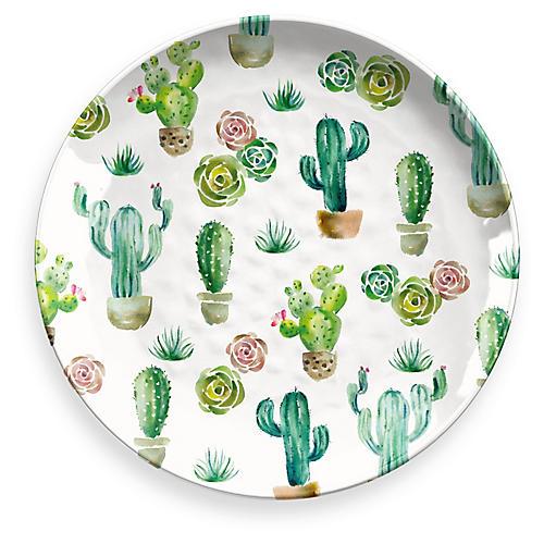 Sewell Round Platter, White/Multi