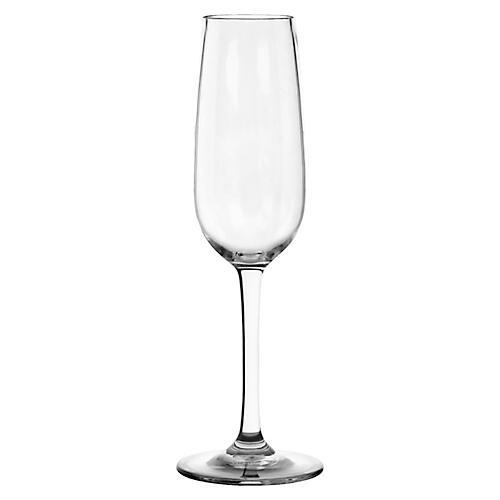 S/6 Acrylic Champagne Flutes, Clear