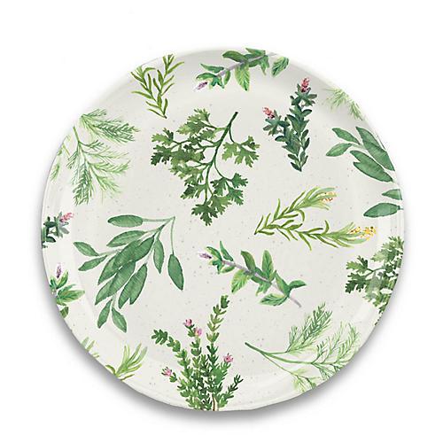 S/6 Garden Herbs Melamine Dinner Plates, Green