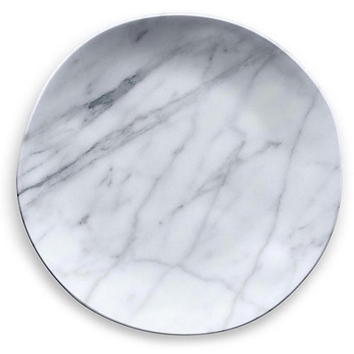 S/6 Marbled Melamine Dinner Plates, White