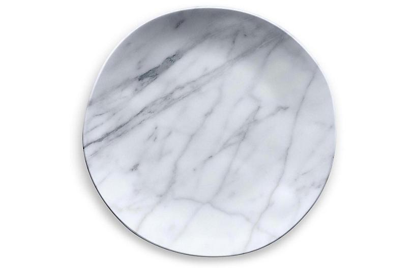S/6 Marbled Melamine Dinner Plates, White