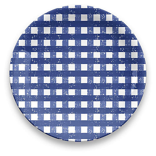 S/4 Gingham Melamine Dinner Plates, Blue