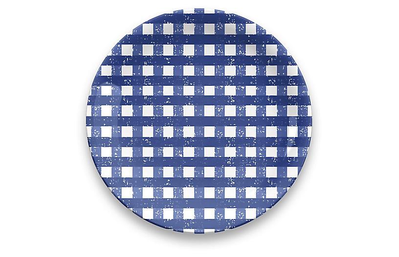 S/4 Gingham Melamine Dinner Plates, Blue