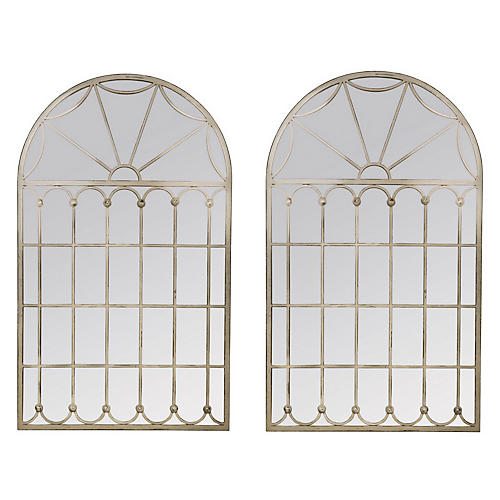 Abigail Oversize Wall Mirrors, Distressed Cream