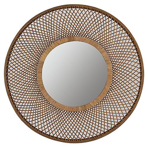 Katie Wall Mirror, Woven Rattan