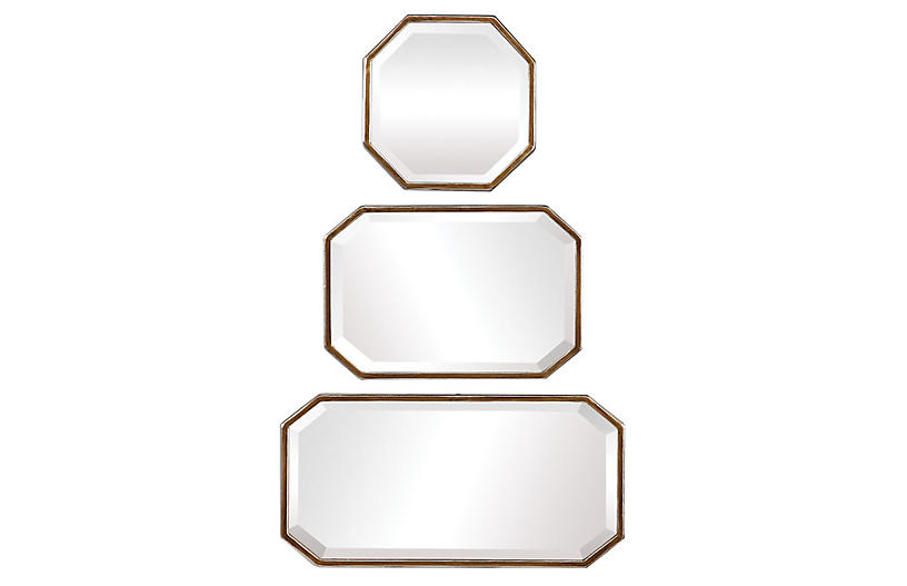 S/3 Innes Wall Mirrors, Gold Leaf