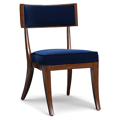 Kilsmos Perch Side Chair, Blue Velvet
