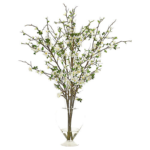 """38"""" Quince in Pear Vase, Faux"""
