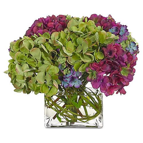 Hydrangea in Cube Vase, Faux