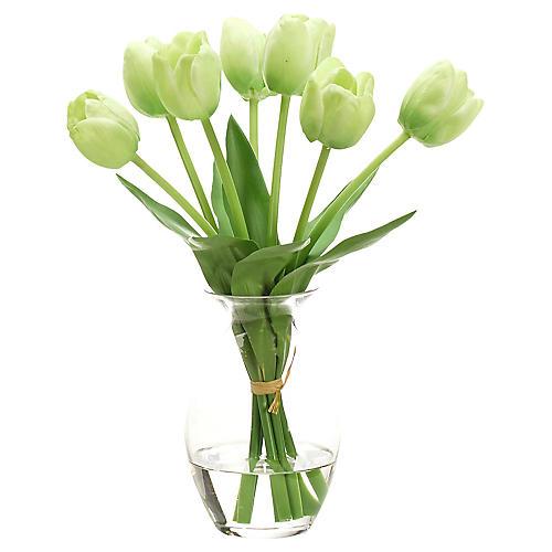 "8"" Tulip in Bubble Vase, Faux"