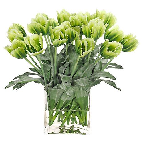 """20"""" Tulip in Cube Vase, Faux"""