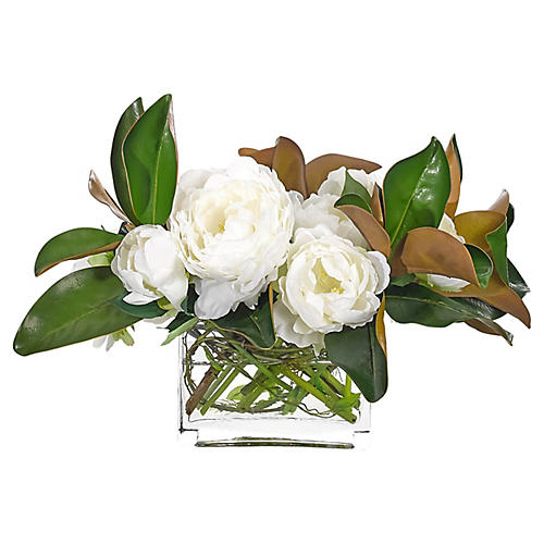 """20"""" Peony in Rectangle Vase, Faux"""
