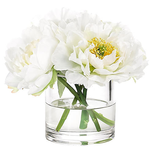 """9"""" Peony in Cylinder Vase, Faux"""