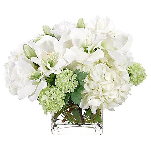 "17"" Amaryllis & Hydrangea in Cube Vase, Faux"