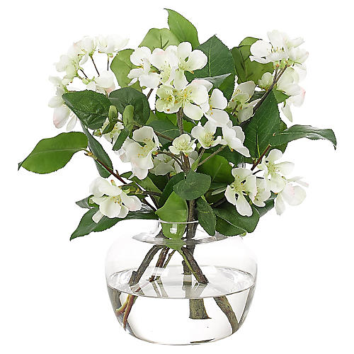 """15"""" Pear Blossom in Vase, Faux"""
