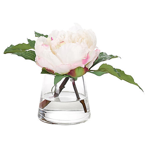 "10"" Peony in Pyramid Vase, Faux"
