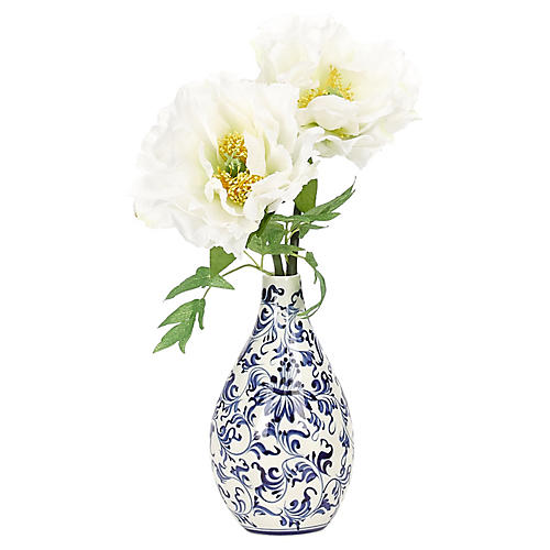 """8"""" Peony in Vase, Faux"""