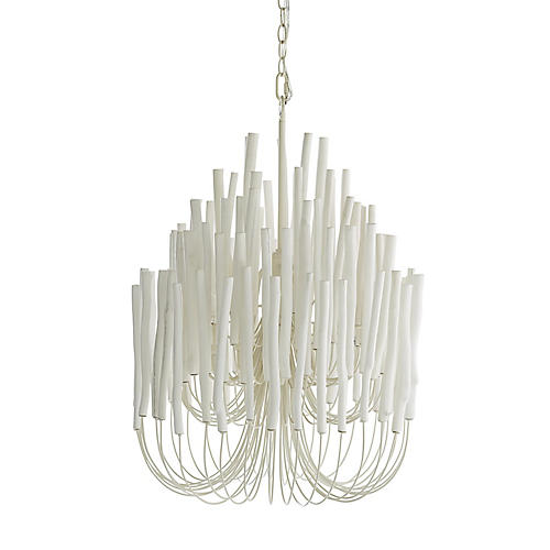 Tilda Chandelier, Whitewashed Wood