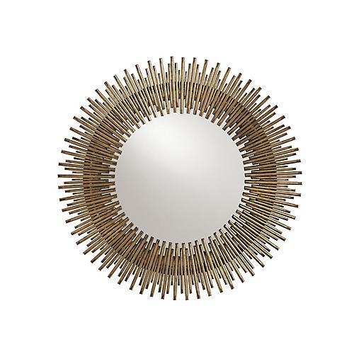 Prescott Round Wall Mirror, Antiqued Gold Leaf