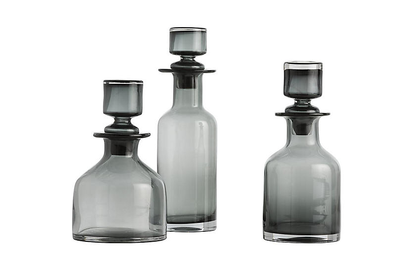 Asst. of 3 O'Connor Decanters, Gray