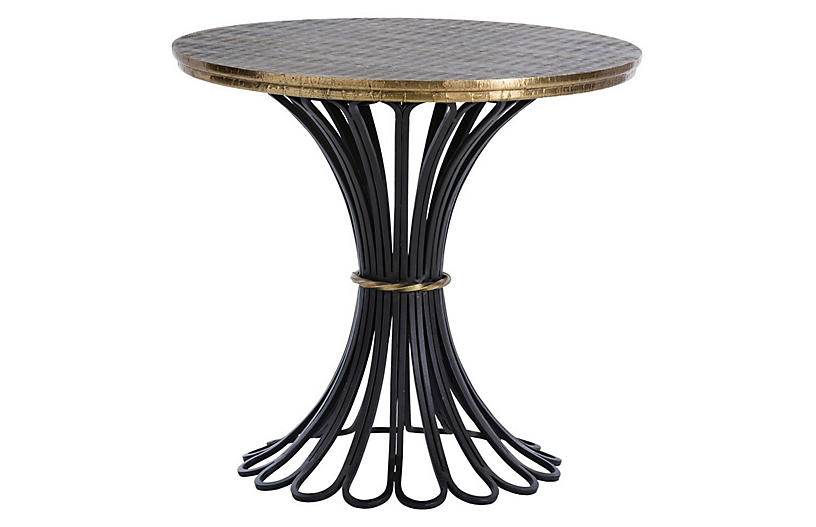 Draco Side Table, Antiqued Brass
