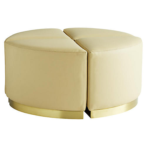 S/4 Nesting Ottomans, Cream Leather