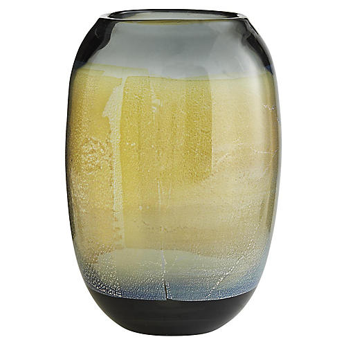 "13"" Marek Globular Vase, Smoke/Gold Leaf"