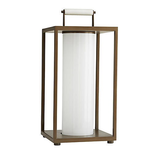 Stetson Outdoor Lantern, Aged Brass