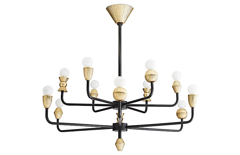Vandana Chandelier, Black/Brass